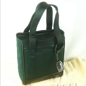 Gucci Dark Green Satin Tote Bag - Junk Condition